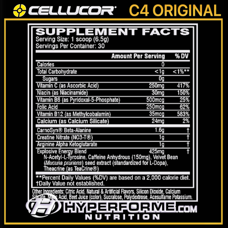 Cellucor C4 ORIGINAL NUTRITION FACTS (2465819328589)
