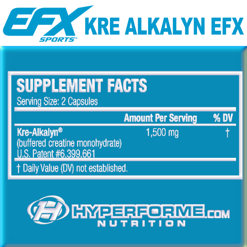 EFX Kre-Alkalyn  NUTRITION FACTS INFO (2465867202637)