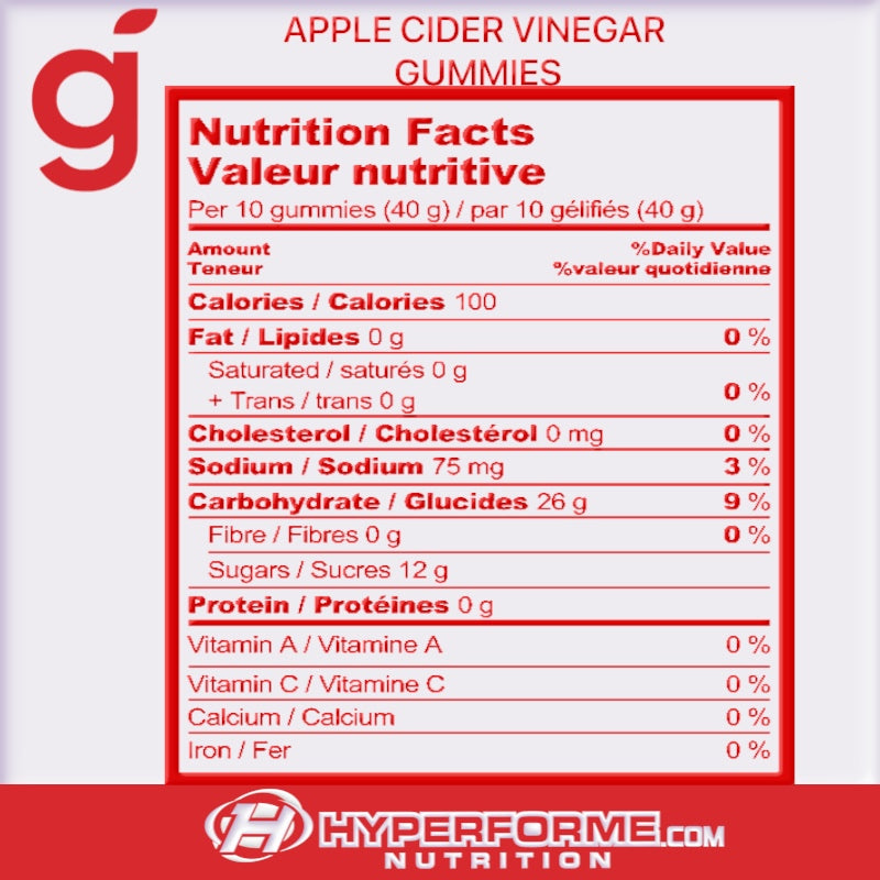 Goli Apple Cider Vinegar Gummies NUTRITION FACTS