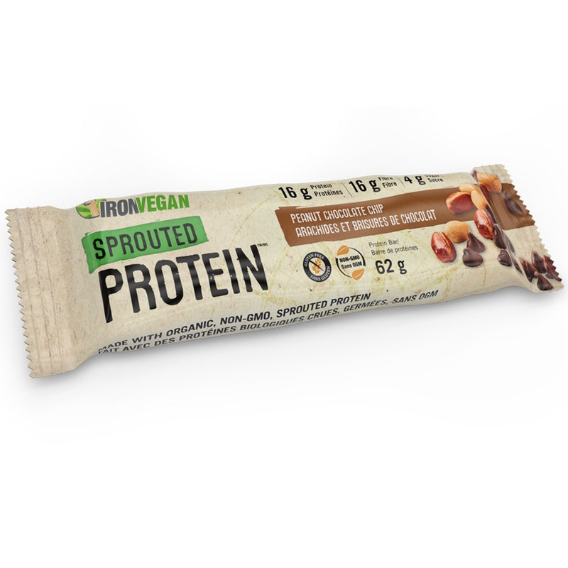 Iron Vegan Sprouted Protein Bar - 1 Bar Peanut Chocolate Chip