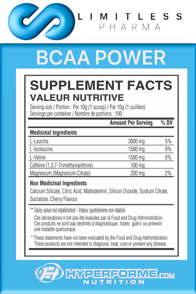 LIMITLESS PHARMA BCAA Power  info nutrition facts (2465878442061)