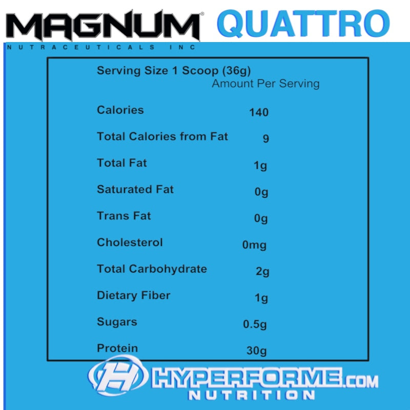 MAGNUM Quattro NUTRITION FACTS