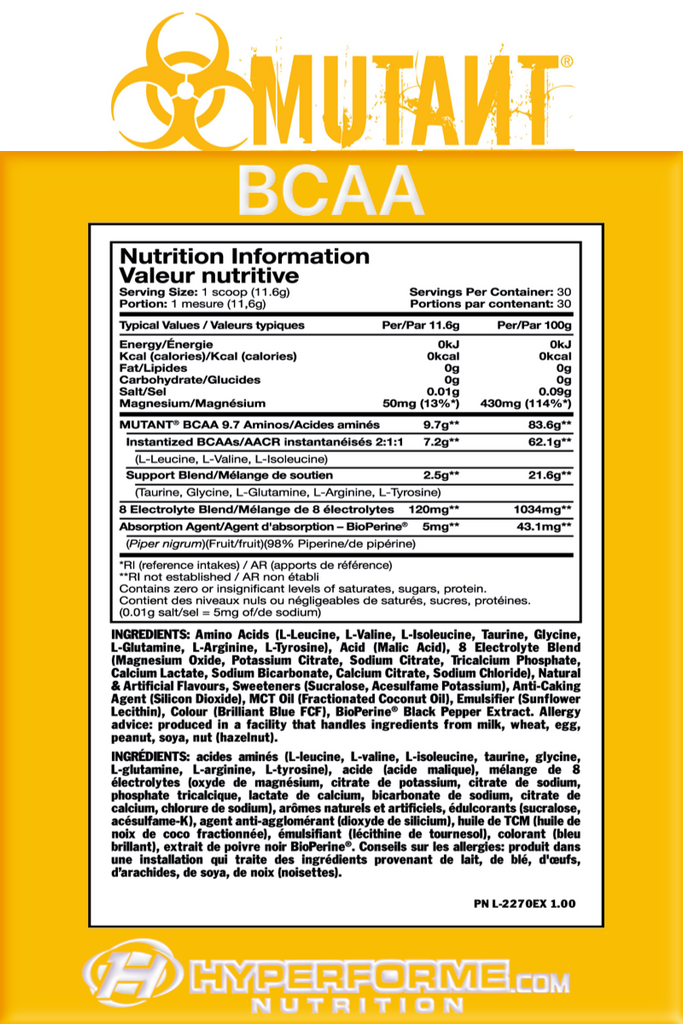 Mutant Bcaa  INFO NUTRITION FACTS