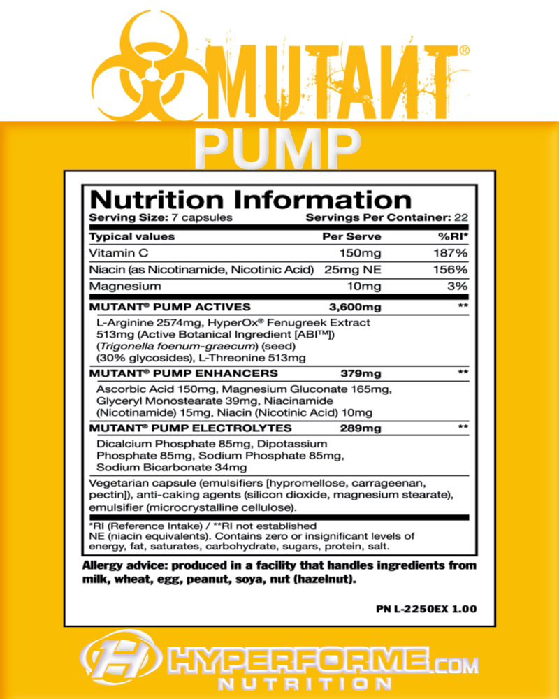 Mutant PUMP INFO NUTRiTION FACTS (2465830109261)