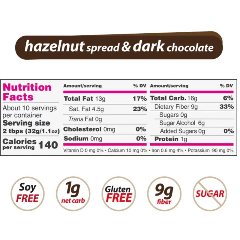 NutiLight Dark Chocolate Hazelnut Spread - 312g nutrition