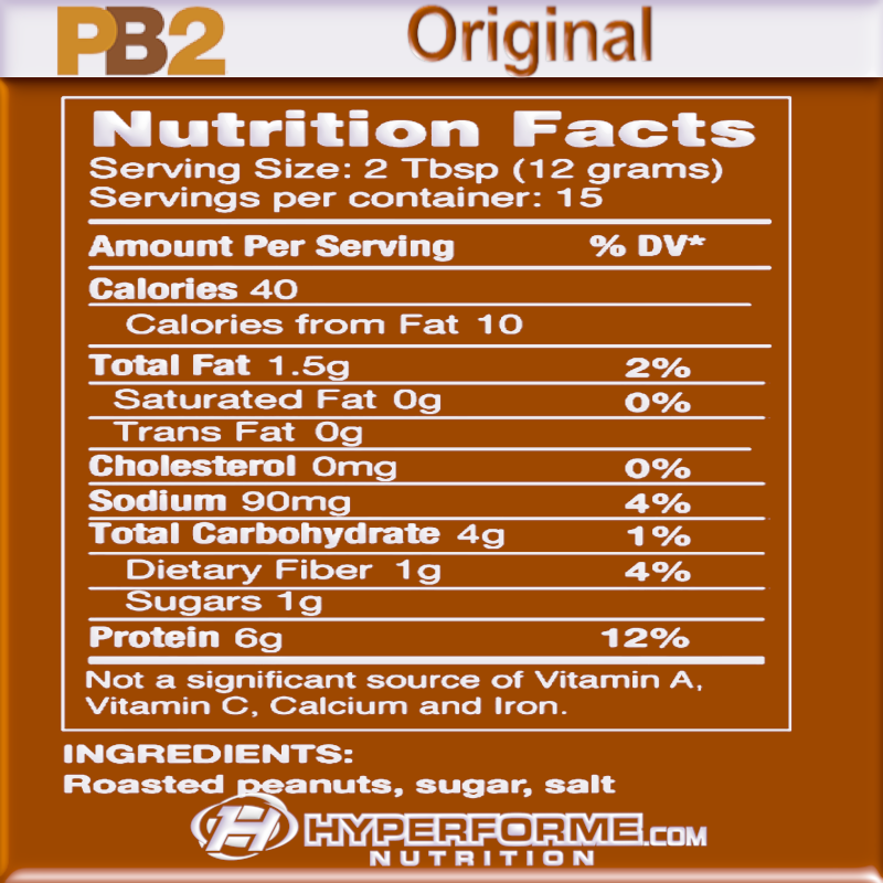PB2 Powdered Peanut Butter Original  nutrition facts (4319067373645)