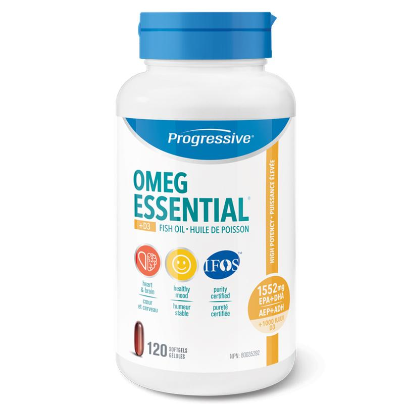 Progressive Omega Essential + Vit D - 120 Softgels