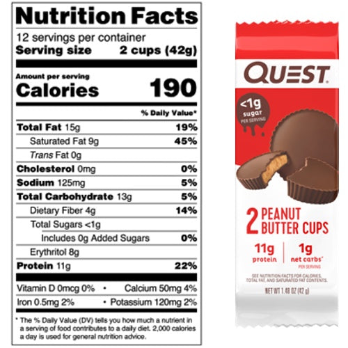 Quest Nutrition Peanut Butter Cups - 1 Bar Nutri