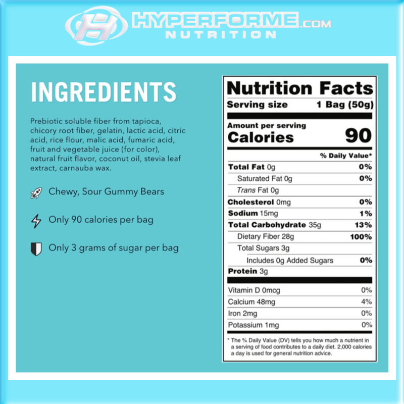 Smart Sweets - sour gummy bears nutrition facts