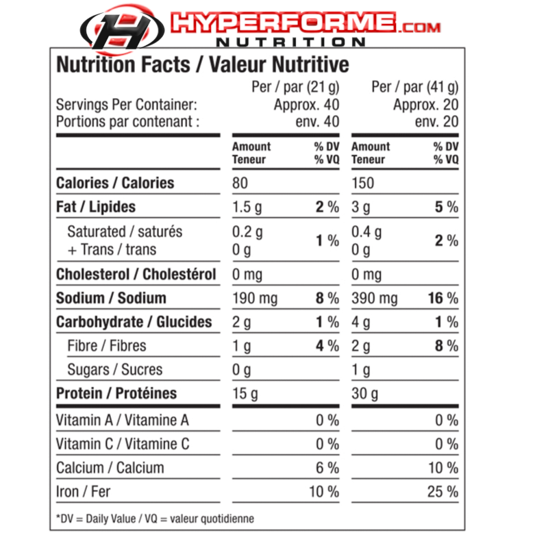 Vega Sport Performance Protein NUTRITION FACTS INFO