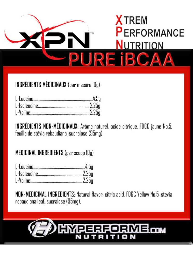 XPN IBCAA NUTRITION FACTS INFO  (2465889550413)