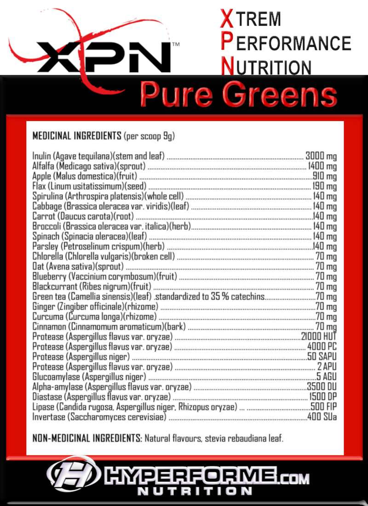 XPN PURE greens NUTRITION FACTS INFO