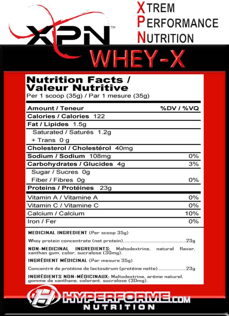 XPN WHEY-X NUTRITION FACTS INFO
