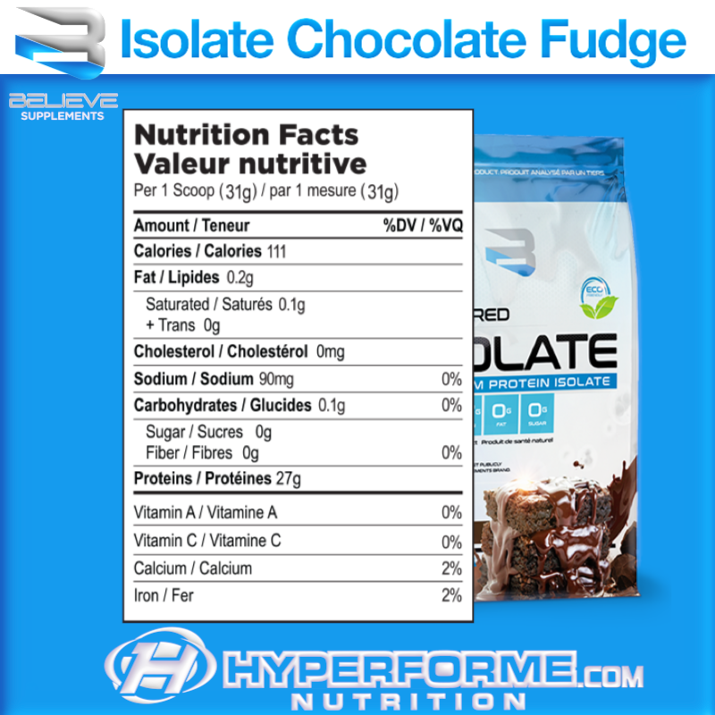 believe isolate chocolate fudge nutrition facts (3564681756749)