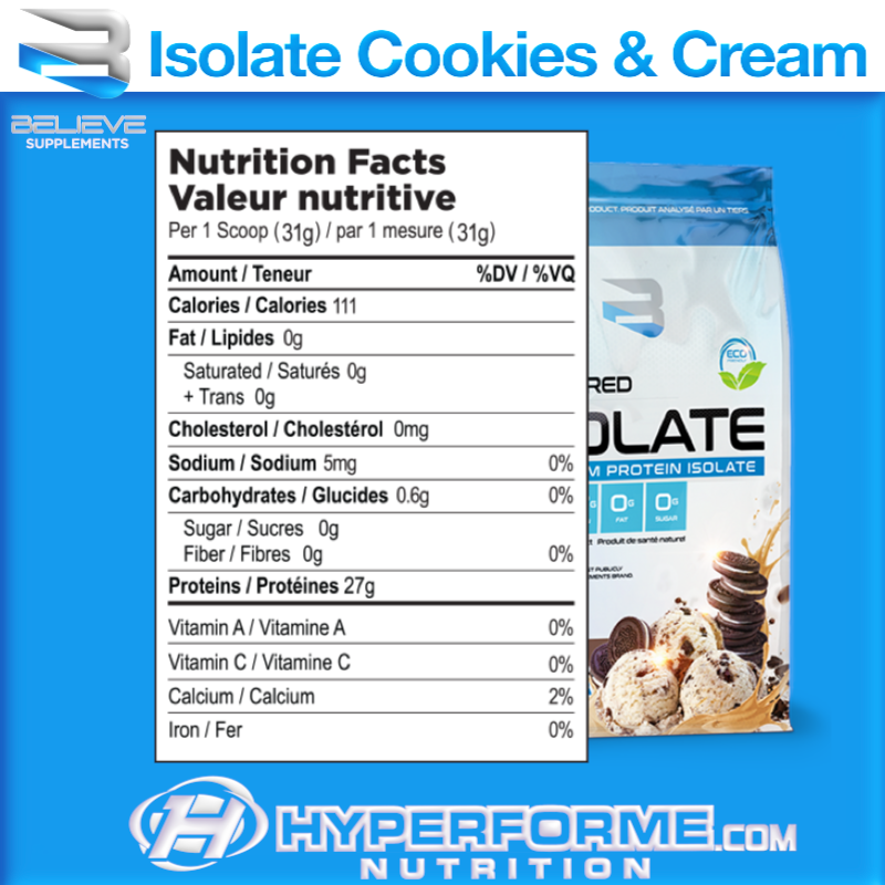 believe isolate cookies & cream nutrition facts (3564681756749)