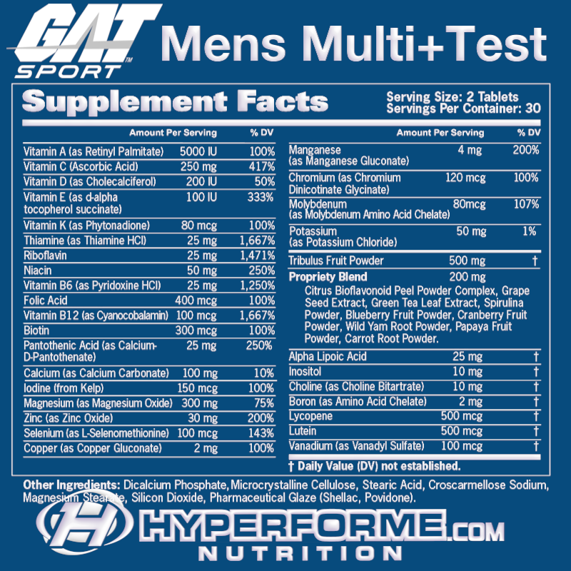 gat Mens Multi+Test nutrition facts (2465872904269)