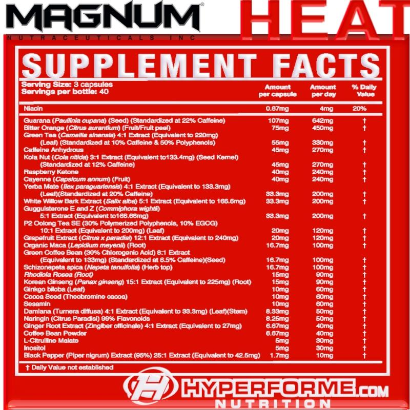 magnum heat accelerated SUPPLEMENT FACTS