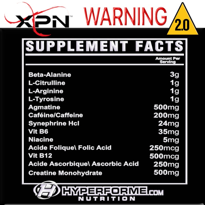 xpn WARNING 2.0  SUPPLEMENT FACTS INFO