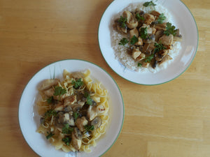 Chicken Marsala Stir-Fry with Egg Noodles