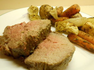 Mustard and Herb-Rubbed Roast Beef and Vegetables
