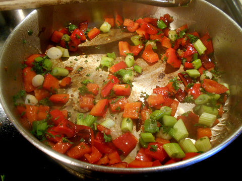 Onions and Seasoning added to peppers