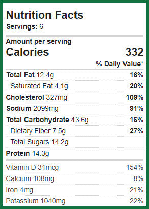 Nutritional Information for Pineapple Curry: 332 calories per serving, 12.4 gm fat, 43.6 carbs, 7.5 gms fiber, 14.2 grams sugars, 14.3 grams protein