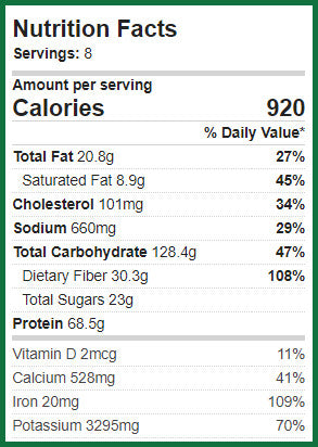 Nutritional Info for Cheesy White Chicken Chili.  920 calories per srving, 20.8 gms fat, 128.4 gms carbs, 30.3 gms fiber, 68.5 gms protein