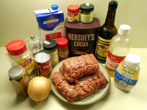 Ingredients for Cincinnati Chili recipe.   It looks like a lot, but most are spices and seasonings you probably already have in your pantry.