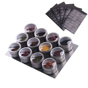 6/9/12 Piece Magnetic Spice Jars with labels