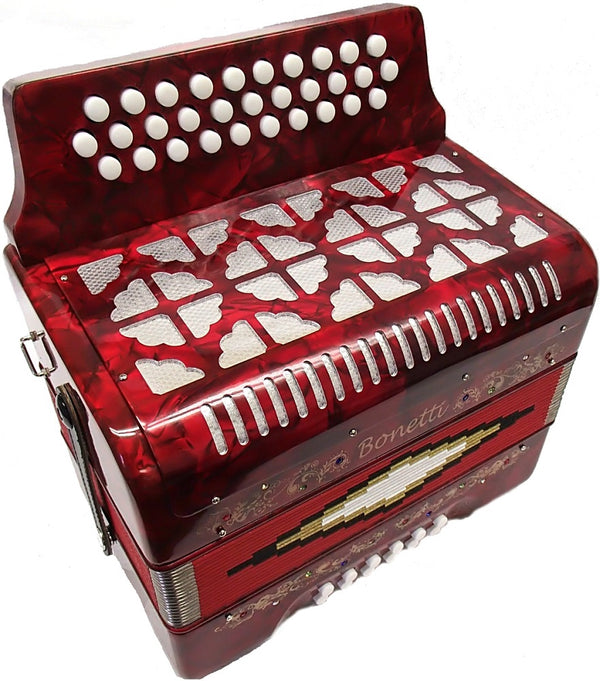 Bonetti Red Diatonic Button Accordion w/Case FBE 3012