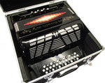 Bonetti Black 3-Switch Diatonic Button Accordion w/Case GCF 3412