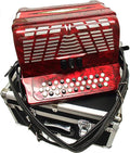 Bonetti Red 3-Switch Diatonic Button Accordion w/Case GCF 3412