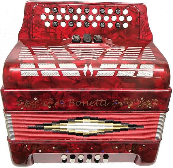 Bonetti Red 3-Switch Diatonic Button Accordion w/Case FBE 3412