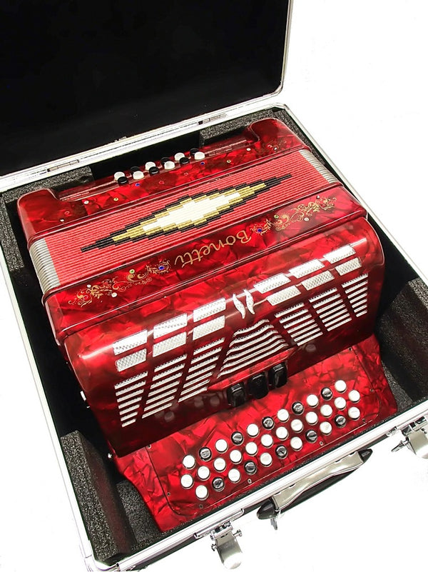 Bonetti Red 3-Switch Diatonic Button Accordion w/Case ADG 3412