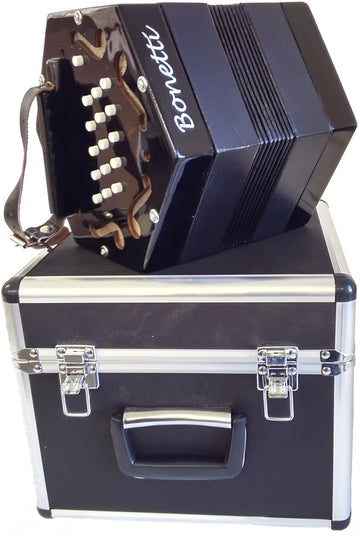 Holiday Sale Bonetti 30 Button Black Concertina Accordion w/Case