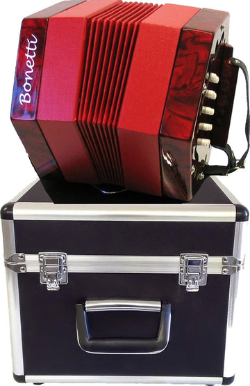 Holiday Sale Bonetti 30 Button Red Pearl Concertina Accordion w/Case