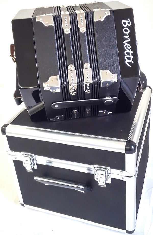 Bonetti 20 Button Black Concertina Accordion w/Case
