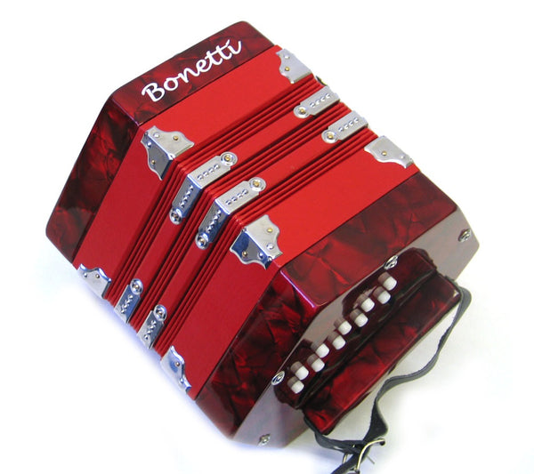 Bonetti 20 Button Red Pearl Concertina Accordion w/Case