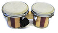 Double Mini Bongo Drum Set w/Striped Finish
