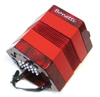 Bonetti 30 Button Red Pearl Concertina Accordion w/Case
