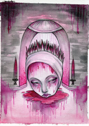 """Oubliette"" Pinktober ORIGINAL PAINTING 5x7"