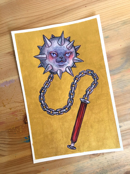 """Golden Meow Mace"" ORIGINAL 6X9 Painting"