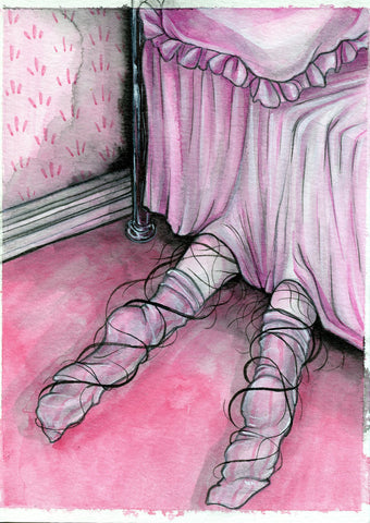"""Under the Bed"" Pinktober ORIGINAL PAINTING 5x7"