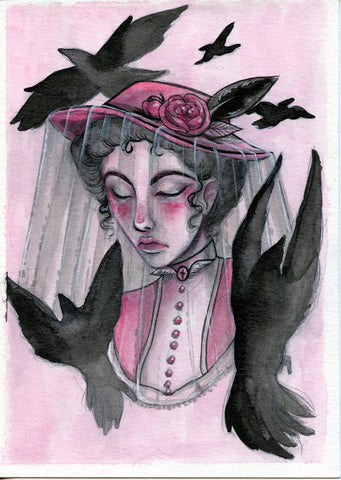 """Swarm of Ravens"" Pinktober ORIGINAL PAINTING 5x7"