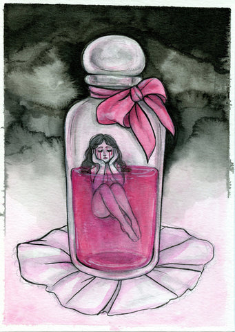 """Tears of Blood"" Pinktober ORIGINAL PAINTING 5x7"