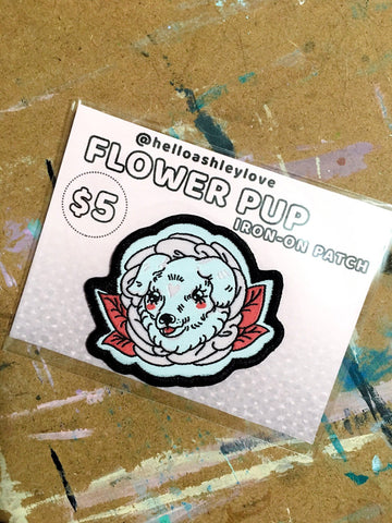 FLOWER PUP iron on patch