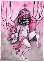 """Ball-Jointed Doll"" Pinktober ORIGINAL PAINTING 5x7"