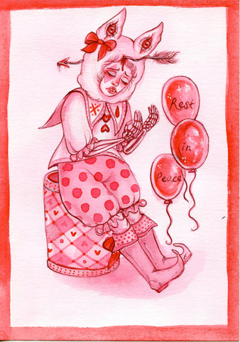 UNDEAD CLOWN ~ Pinktober ORIGINAL PAINTING 5x7