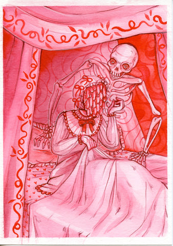 LIVING NIGHTMARE ~ Pinktober ORIGINAL PAINTING 5x7