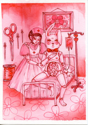DOLL HOSPITAL ~ Pinktober ORIGINAL PAINTING 5x7
